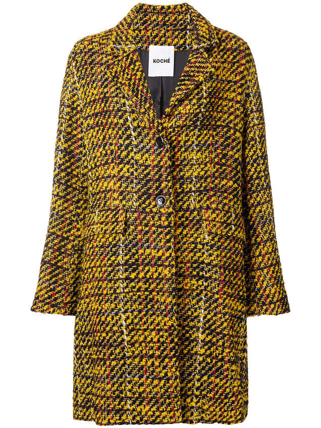 Koché textured single breasted coat - Yellow