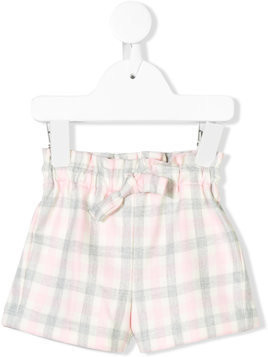 Il Gufo checked tied shorts - Pink & Purple