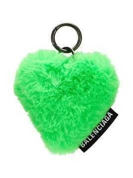 Balenciaga faux fur heart key ring - Green