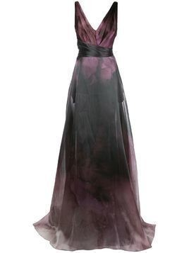 Marchesa Notte printed flared gown - PURPLE