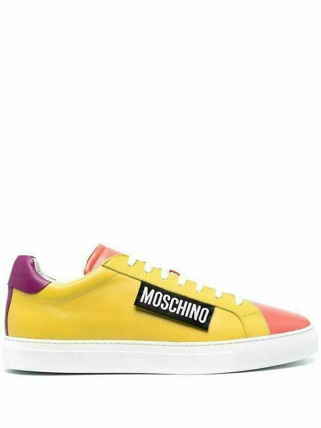 Moschino Moschino Label colour-block sneakers - Yellow