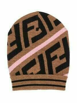 Fendi Kids Zucca-pattern knitted hat - Brown