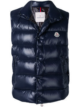 Moncler glossy band collar gilet - Blue