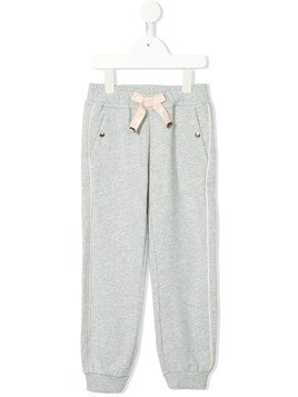 Chloé Kids logo bow piped track pants - Grey