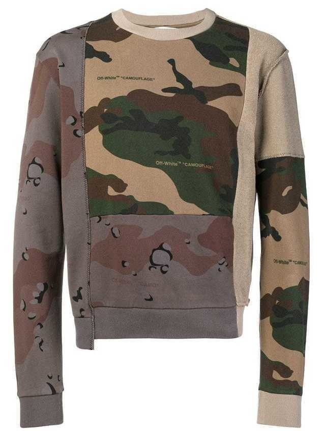 Off-White reconstructed camouflage-print sweatshirt - Brown