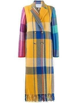 Mira Mikati longline checked coat - Yellow