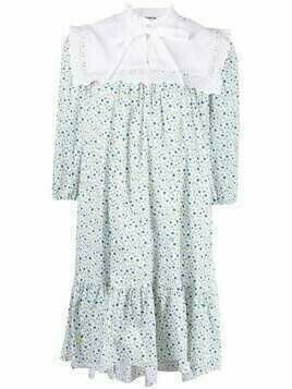 Vivetta bib-collar floral-print dress - White
