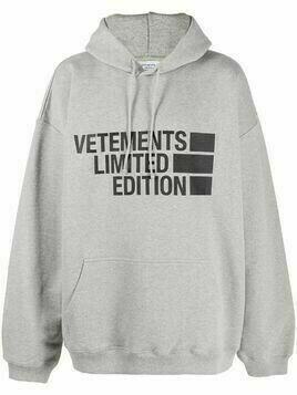 Vetements oversized logo-print hoodie - Grey
