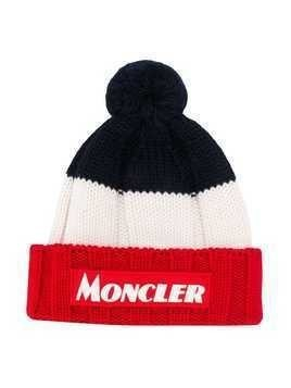 Moncler Kids knitted stripe hat - Blue