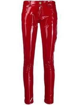 Frankie Morello glossy-effect skinny trousers - Red