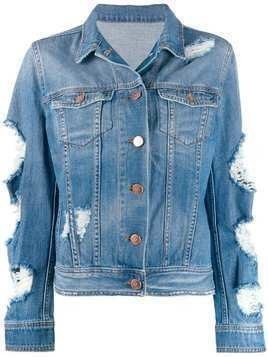 Don't Cry distressed denim jacket - Blue