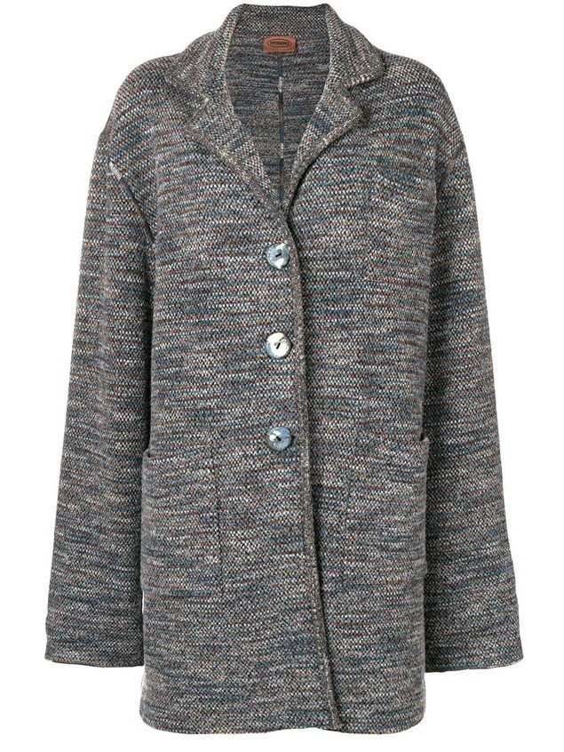 Missoni Pre-Owned 1980's loose knitted coat - Blue