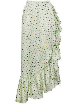 Attico Silk Floral Wrap Skirt - Green
