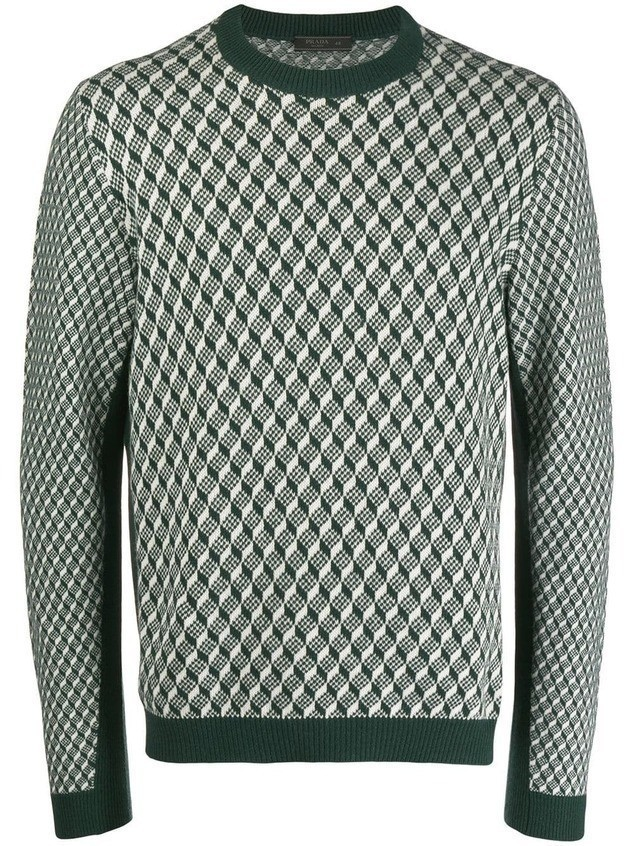 Prada geometric pattern jumper - Green