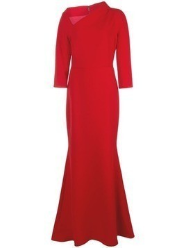 Badgley Mischka off-center neck crepe gown - Red