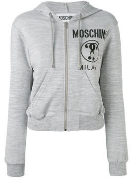 Moschino cropped logo hooded top - Grey