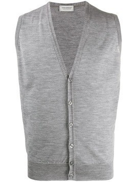 John Smedley wool sleeveless cardigan - Grey