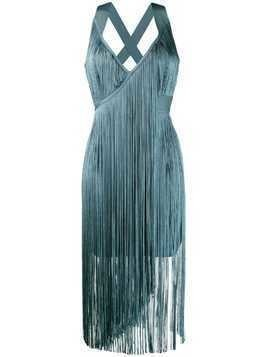 Hervé Léger fringed midi dress - Blue
