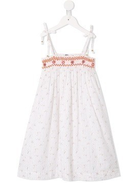 Velveteen eden shoulder smocked dress - White