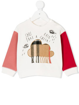 Burberry Kids fringed cloud patch sweatshirt - White