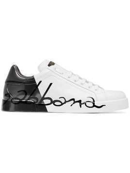 Dolce & Gabbana black and white portofino logo leather sneakers