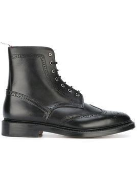 Thom Browne perforated detailing military boots - Black