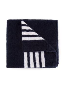 Thom Browne Kids Baby Scarf With White 4-Bar Stripe In Navy Cashmere - Blue