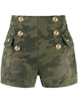 Balmain camouflage high-waisted shorts - Green