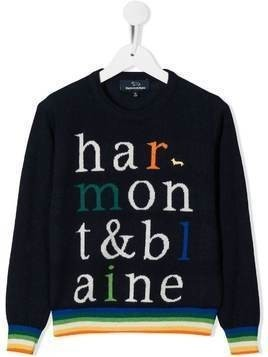 Harmont & Blaine Junior logo knit jumper - Blue