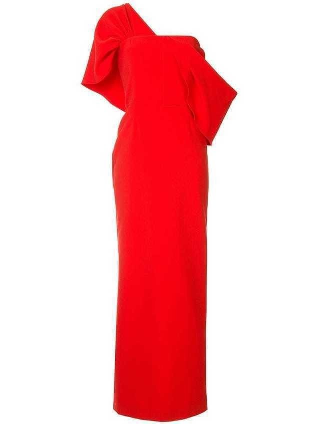 Osman Adalyn one-shoulder crepe gown - Red