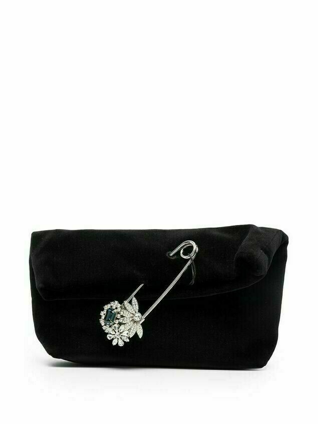 Burberry safety pin-embellished velvet clutch - Black