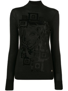 Versace Collection printed turtleneck top - Black