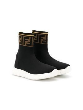 Fendi Kids TEEN FF slip-on sneakers - Black