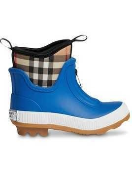 Burberry Kids Vintage Check Neoprene and Rubber Rain Boots - Blue