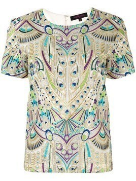 Manish Arora embroidered peacock T-shirt - Gold