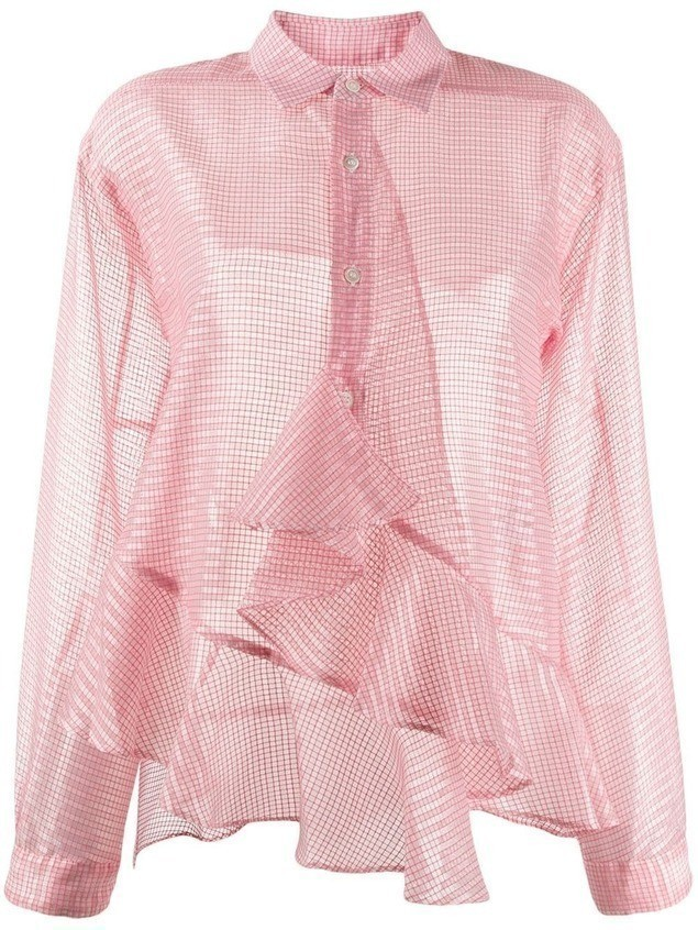 Julien David checkered ruffle trim shirt