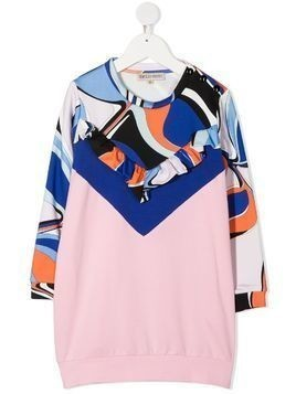 Emilio Pucci Junior abstract-print sweatshirt dress - PINK