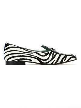 Blue Bird Shoes leather Zebra slippers - White