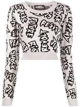 Jeremy Scott graphic patterned cropped jumper - Grey