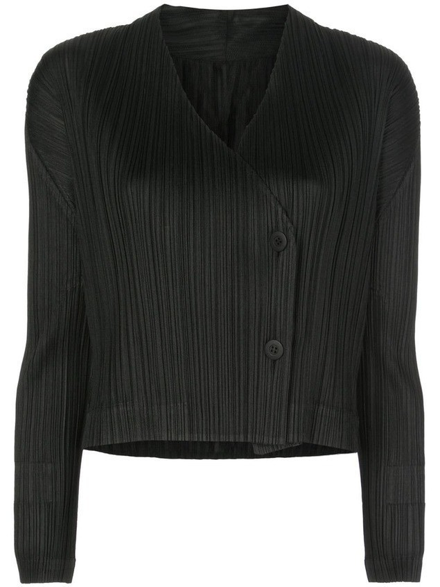 Pleats Please Issey Miyake cropped pleated jacket - Black