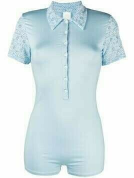 Viktor & Rolf floral-lace short-sleeved body - Blue