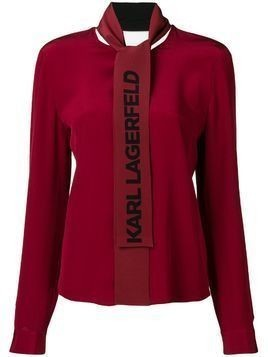 Karl Lagerfeld logo bow blouse - Red