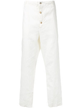 Forme D'expression button fly trousers - White