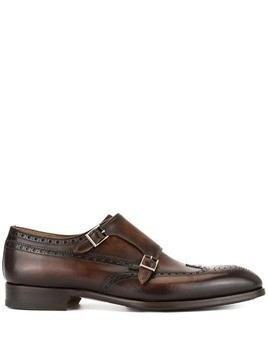 Magnanni perforated monk shoes - Brown
