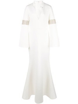 Badgley Mischka Runway Beaded Armband Gown - White