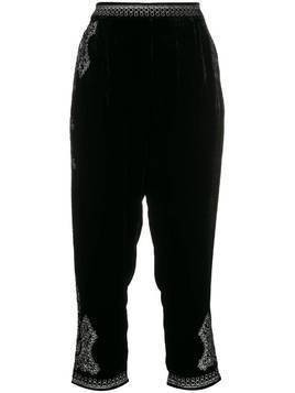 Mes Demoiselles Mercury velvet embroidered trousers - Black