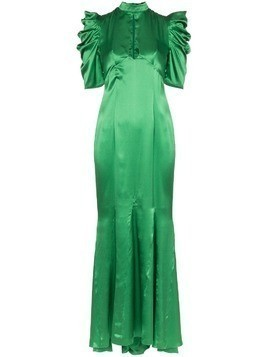 De La Vali Audrey keyhole-detail silk maxi dress - Green