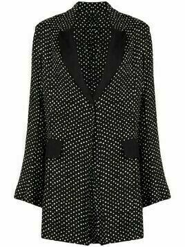 Masnada polka-dot single breasted coat - Black