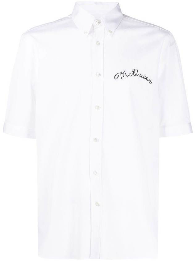 Alexander McQueen logo-embroidered short-sleeve shirt - White