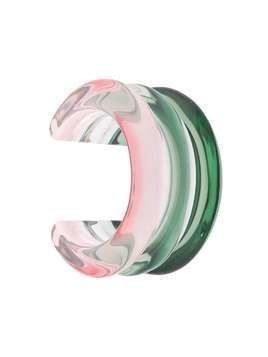 Lizzie Fortunato Jewels gradient ribbed cuff bracelet - Green